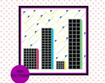 Cityscape Modern Cross Stitch Pattern  - Geometric  Cross Stitch Chart