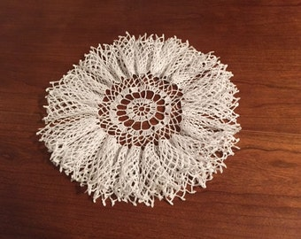 Vintage hand crocheted ruffled doily