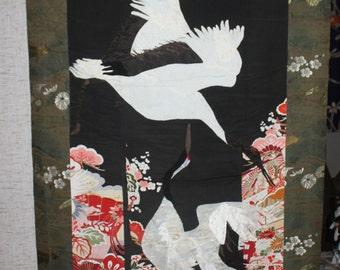 Fabric (Kimono/Obi) made hanging scroll for wall displaying, TSURU cranes