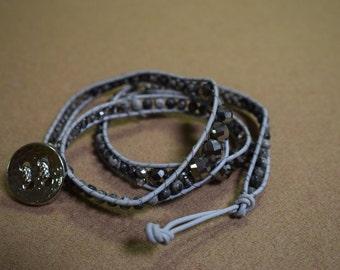 Grey stone wrap bracelet