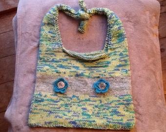 Varigated colour hand knitted shoulder bag