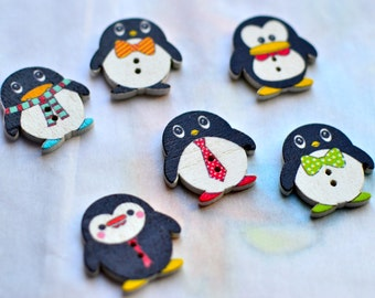 8pc Penguin wooden buttons I Penguin buttons I Buttons l Scrapbooking buttons I Cute buttons I Sewing buttons I Craft supplies I Penguins