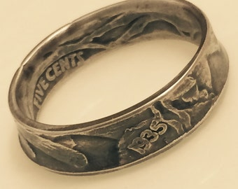 1935 Buffalo Nickel Handcrafted Coin Ring