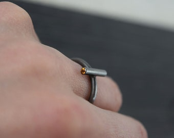 Slim Silver Ring - Sterling Silver Ring - Stone Set Ring - Citrine Ring - Contemporary Ring