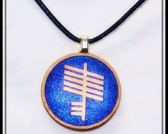 Ogham Protection Amulet and Leather Necklace, Spiritual Jewellry Druid Talisman
