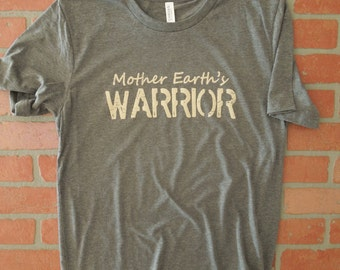 Mother Earth's Warrior Distressed Graphic T-Shirt/Mother Earth T-Shirt/Save the Planet/Environmental Shirt/Recycling Shirt/Save Animals Tee
