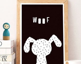 NEW Dog Woof, nursery animal dog prints, Dog 1, Nursery Decor Dog, Wall Art Nursery, Kids Wall Art, boy Nursery Decor,Nursery Decor Animals