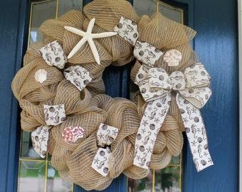 Summer Beach Wreath, Nautical Door Wreath, Beach Door Wreath, Bay Wreath, River Door Wreath, Coastal Door Wreath, Ocean Wreath, Sea Wreath