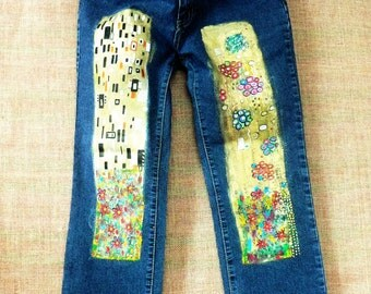 Hand-painted, recycling jeans inspired by Gustav Klimt paintings