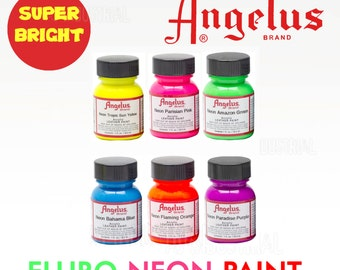 Fluro Paints Neon Paint For Boots-Shoes-Bags- Great for Craft 6 Colors