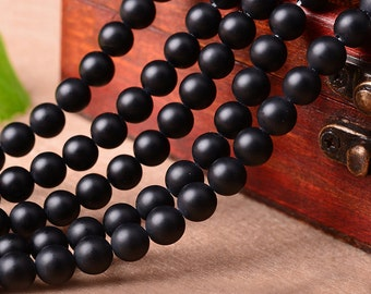 Natural Black Onyx (Matte), Black Onyx Beads, Round Beads, Semi Precious, Gemstone Beads, Agate, 4 6 8 10 12 14 mm, (AB003)