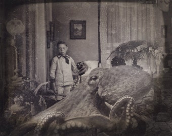 Octopus art Octopus art print Octopus prints Weird old photos Victorian Portraits Vintage Photos Art collage Nautical Kraken prints