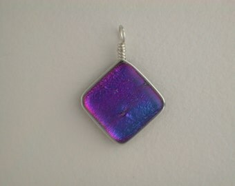 Purple Dichroic Glass Pendant with Silver wrap