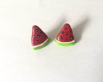 Watermelon Slice Polymer Clay Earrings