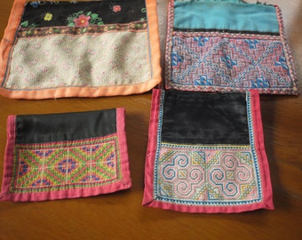 Hmong stitched textile - recycled textile patches - 4 pieces