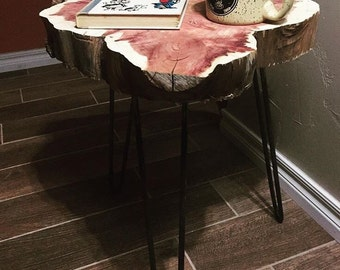Rustic Wood Slice End Table