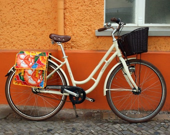 vintage bicycle bag- saddle bag - doble pocket - bike panniers from oilcloth, waterproof, retro look