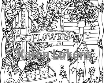 Happyville Backyard, 1 Adult Coloring Book Page, Printable Instant Download