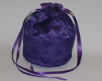 Purple Satin & Lace Dolly Bag Evening Handbag Or Purse For Wedding Or Bridesmaid