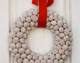 Holiday Walnut Wreath, Christmas Outdoor Indoor Natural Ornaments, Holiday Door Hanger, Home Decor