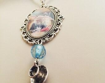 White rabbit tea cup necklace