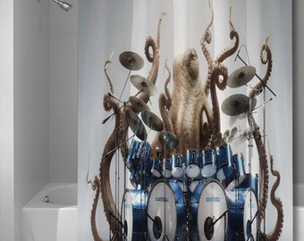 Custom Shower Curtain Octopus Playing Drum Print On Polyester
