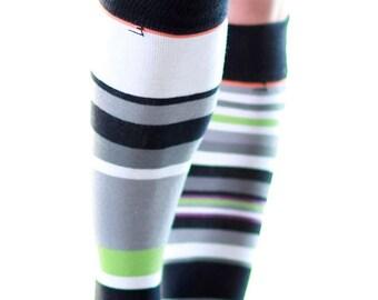 Knee High Socks Black & White Stripes