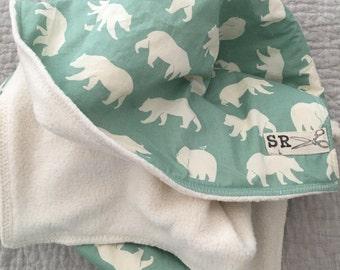 Modern baby cosy blanket, woodland blanket, organic cotton, organic sherpa, bear hike, calm natural colors