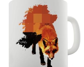 Watercolour Pixel Fox Ceramic Tea Mug
