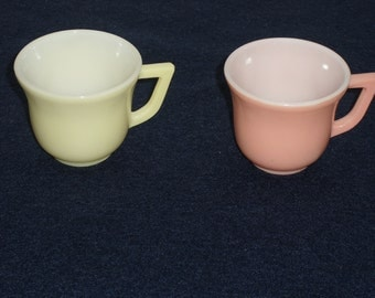 Hazel Atlas Moderntone Pink and Yellow Childs Cup