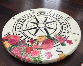 Lazy Susan with a Compass Stencil painted in black with floral decoupage