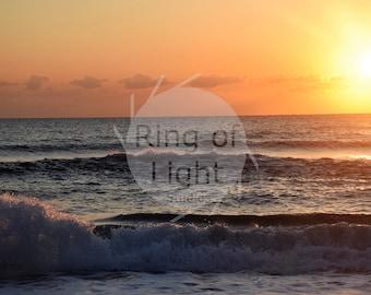 Sunrise on Ocean Waves Photo, Photograph, Print and Canvas
