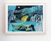 Mercave Print, Art Print, Original artwork,  Art by Mike Willcox, Merman and Mermaid art, Sea print, Ocean art