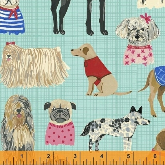 "Last One!! || ORGANIC || Hot Dogs in Blue || Hot Dogs & Cool Cats || Carolyn Gavin for Windham Fabrics || 23"" x WOF 