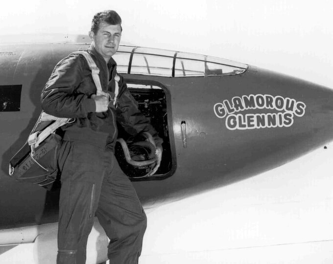 "Chuck Yeager in Front of the Bell X-1 ""Glamorous Glennis"" Experimental Aircraft - 5X7,  8X10 or 11X14 Photo (EP-661)"