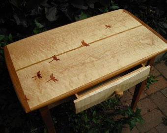 Birdseye maple endtable with dragonfly inlay and drawer
