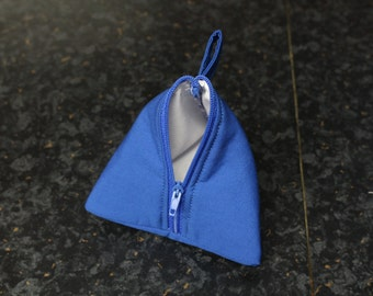 """Blue And White Mini 4"""" Triangle Zip Pouch"""