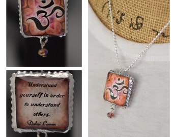 Charm/Yoga /Two Sides Unique/Dalai Lama/Inspirational/om symbol/Om/Quote/Inspiring/Soldered/Necklac/Double Sided/Gift/Perfect Gift