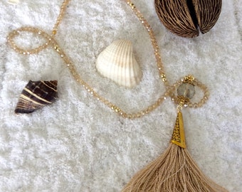 Long necklace with crystal and tassel