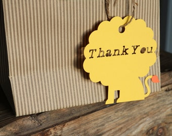 Critter party-lion, 12-piece Lion cutout, birthday party,first birthday, favour tag, thank you tag