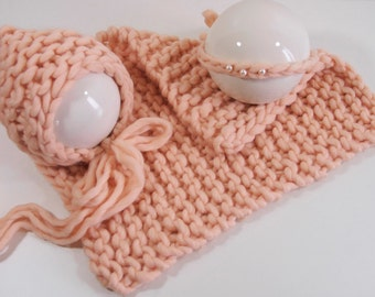 Blanket mini blanket bonnet hair band from Peruvian wool of salmon