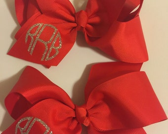 "6"" monogrammed hair bows"
