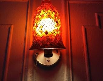 Red mosaic lamp shade