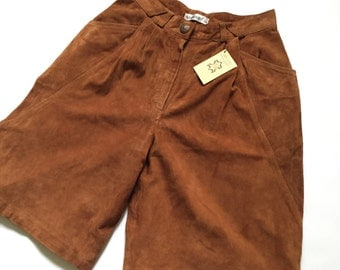 Brand New With Tags 1980s Suede Shorts