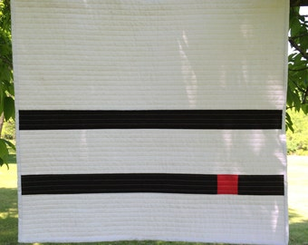 White, Black and Red Quilted Wall Hanging