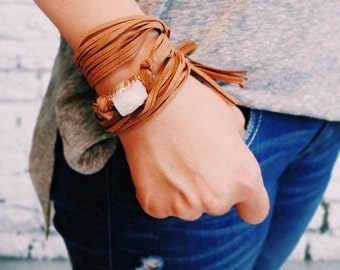 Druzy Suede Wrapping Bracelet - PINK