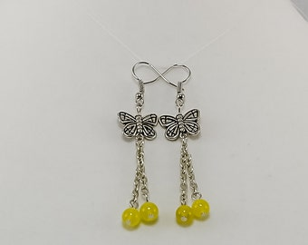 Antique Silver Butterfly Dangle Earrings in Yellow
