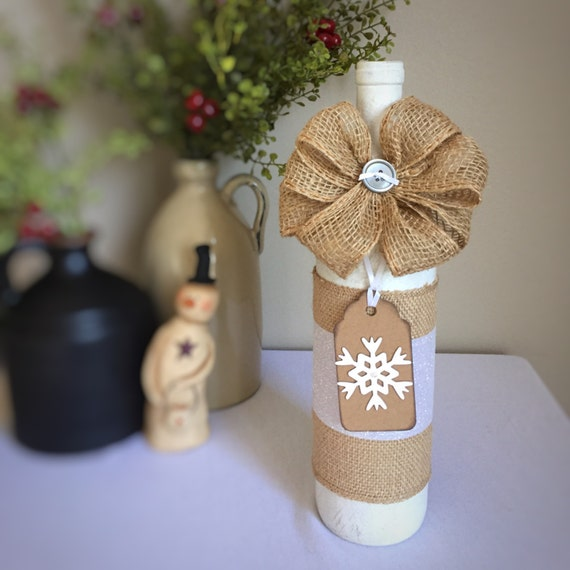 Snowflake Winter Decor/Christmas Decor/Winter Party Decoration/Bar Decoration/White Christmas/Snow/Frozen/Wine Bottle/Recycled Bottle