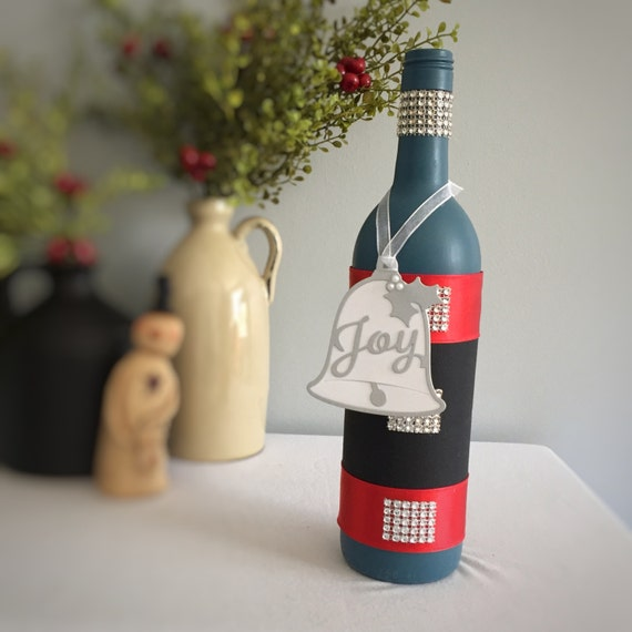 Wine Bottle Decor/Christmas Bells/French Blue/Joy/Hand Painted/Rhinestone/Holiday Bling/Winter Decor/Holiday Party/Handmade Gift/Unique Gift