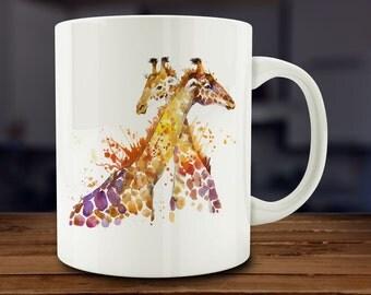 Giraffe Mug, Watercolor Giraffe Coffee Mug, Kitchen Art (A165-rts)